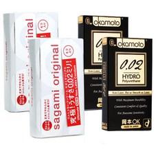 사가미 오리지널 002 콘돔 6p x 2개입 + 오카모토 0.02 하이드로폴리우레탄 콘돔 6p x 2개입, 1세트