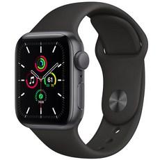 Apple 애플워치 SE, GPS, 스페이스 그레이 알루미늄 케이스, 블랙 스포츠 밴드