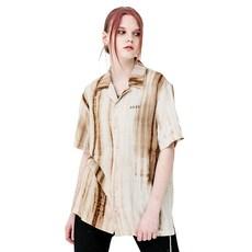 러닝하이 여성용 로고 자수 다이드 하와이안 셔츠
