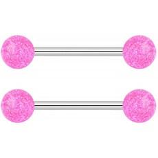 금지 된 바디 쥬얼리 14G 16mm (5/8 인치) 핑크 울트라 반짝이 젖꼭지 또는 혀 링 바벨 세트