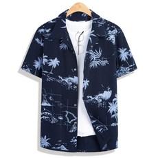 모니즈 95~130 네이비 하와이안 반팔 셔츠 남방 빅사이즈 SHT164