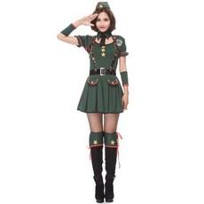 숭구리몰 [여군A] 육군 녹색 여성군인 코스프레 할로윈 의상 수출 일본 연례 회의